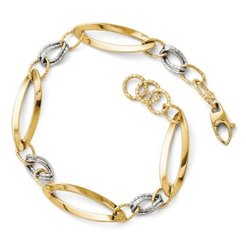 Leslie's 14k Two-tone Polished and D/C Link w/ 1/2in. ext. Bracelet