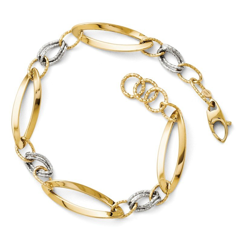 Leslie's Leslie's 14K Two-tone Polished and D/C Link w/1/2in. ext. Bracelet