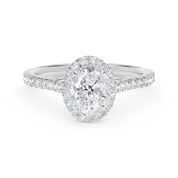 Center of My Universe® Oval Halo Engagement Ring with Diamond Band