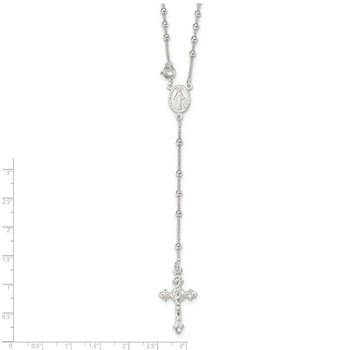 Sterling Silver Polished Bead Rosary 16 inch Necklace