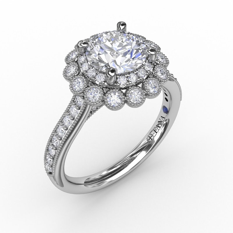Fana Vintage Double Halo Engagement Ring With Milgrain Details