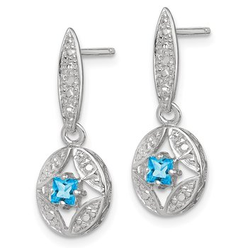 Sterling Silver Blue Topaz Diamond Post Dangle Earrings