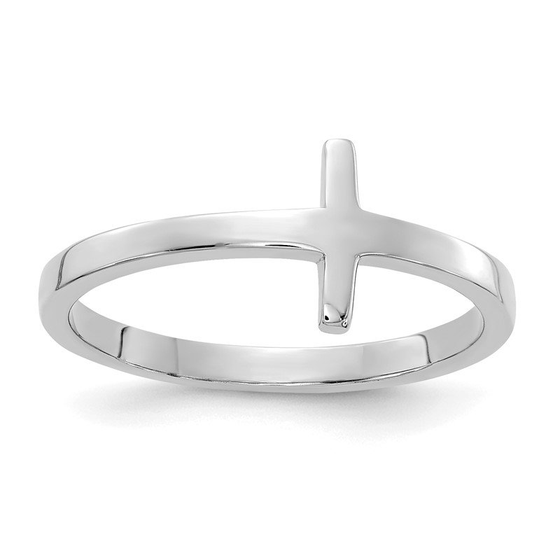 Quality Gold 14k White Gold Sideways Cross Ring