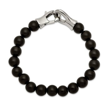Stainless Steel Polished Black Agate Beaded 9in Bracelet
