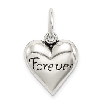 Sterling Silver Antiqued Forever Heart Pendant