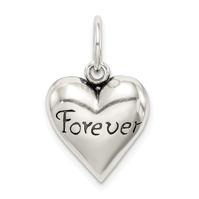 Quality Gold Sterling Silver Antiqued Forever Heart Pendant