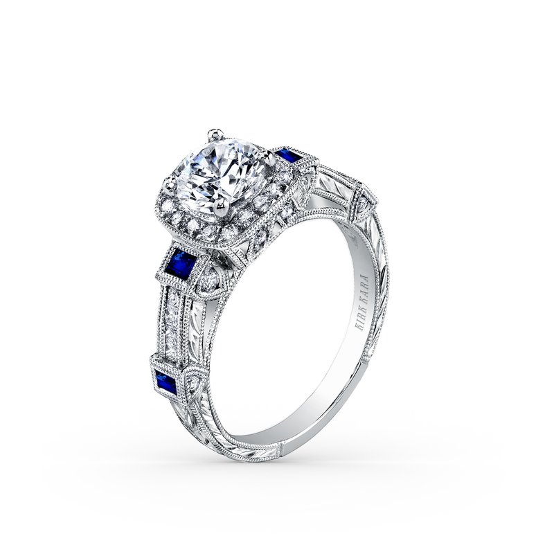 Kirk Kara Blue Sapphire Halo Diamond Engagement Ring