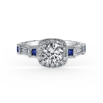 Blue Sapphire Halo Diamond Engagement Ring
