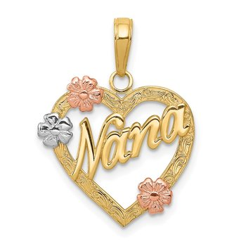 14K Tri-color NANA in Heart with Flowers Pendant