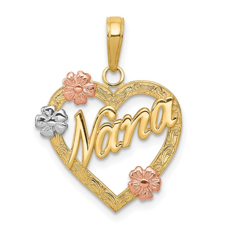 Quality Gold 14K Tri-color NANA in Heart with Flowers Pendant