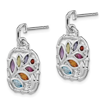 Sterling Silver Rhodium-plated Multi Gemstone Post Dangle Earrings