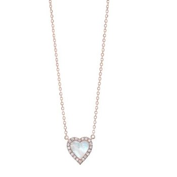 Diamond & Mother of Pearl Heart Halo Pendant Necklace in 14k Yellow Gold (1/10ctw)