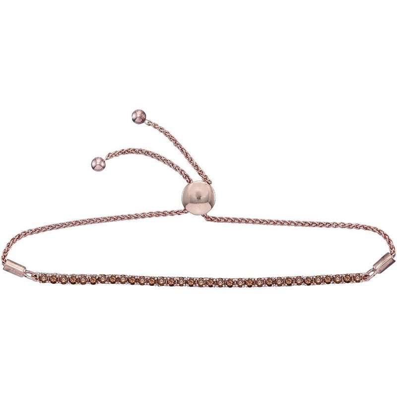 Gold-N-Diamonds, Inc. (Atlanta) 10kt Rose Gold Womens Round Natural Brown Diamond Bolo Bracelet 2.00 Cttw