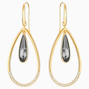 Lisanne Hoop Pierced Earrings, Gray, Gold-tone plated