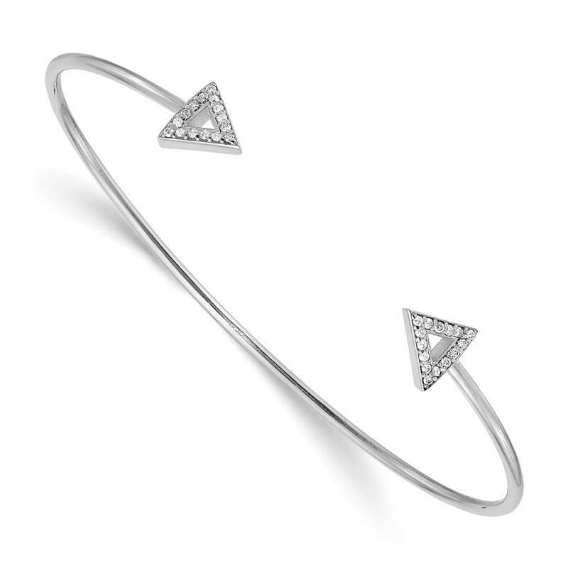 Quality Gold 14k White Gold 7in A Diamond Triangle Bangle