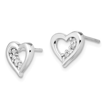 Sterling Silver CZ Heart Earring and Pendant Set