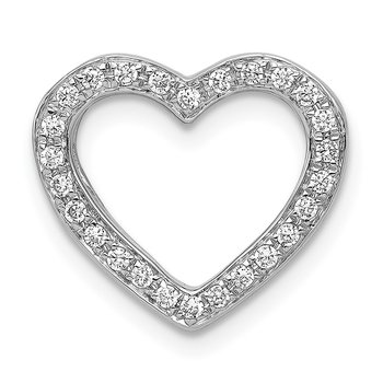 14k White Gold 1/6ct. Diamond Heart Chain Slide
