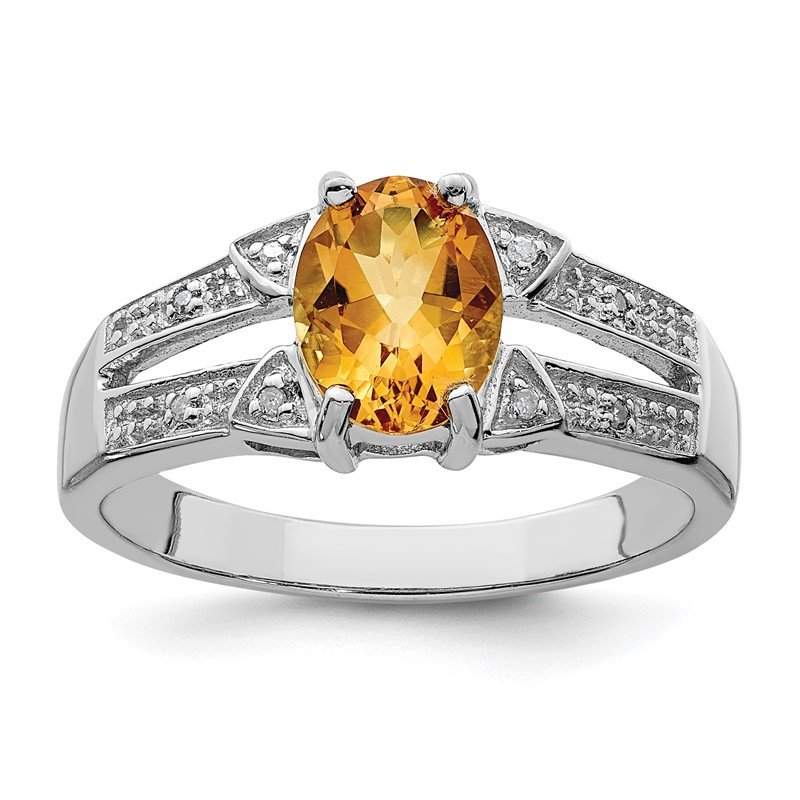 Fine Jewelry by JBD Sterling Silver Rhodium Citrine Diamond Ring