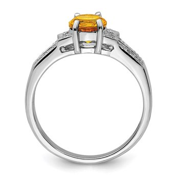 Sterling Silver Rhodium Citrine Diamond Ring
