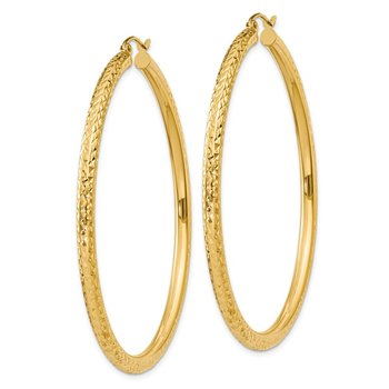 14k Diamond-cut 3mm Round Hoop Earrings