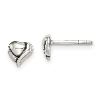 Sterling Silver Antiqued Heart Post Earrings