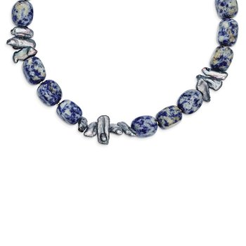 Sterling Silver Sodalite/Grey FW Cultured Pearl Necklace