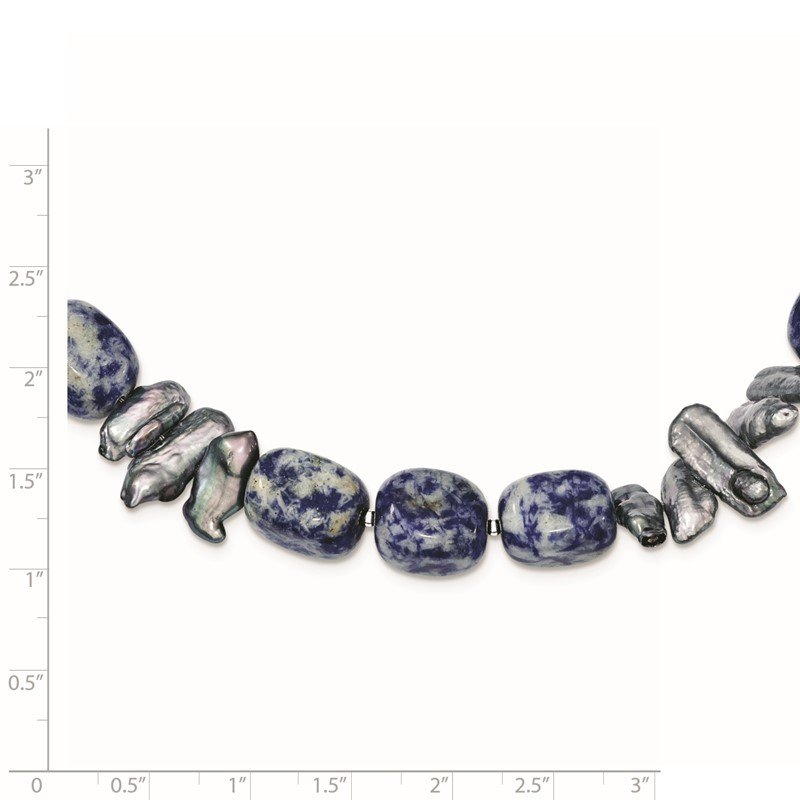 Quality Gold Sterling Silver Sodalite/Grey FW Cultured Pearl Necklace