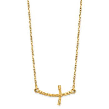 14k Small Sideways Curved Twist Cross Necklace
