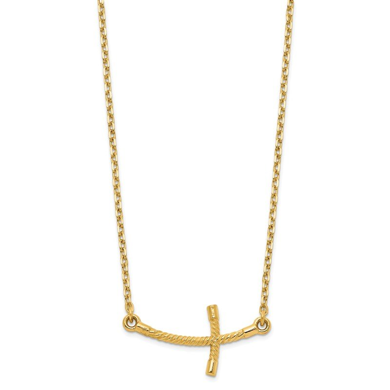 Quality Gold 14k Small Sideways Curved Twist Cross Necklace