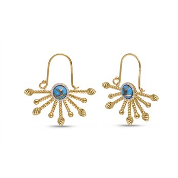 LuvMyJewelry Day Break Turquoise & Diamond Drop Earrings in Sterling Silver & 14 KT Yellow Gold Plating