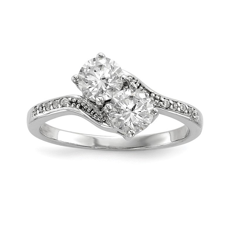 Quality Gold Sterling Silver Rhodium-plated Two Stone CZ Bypass Ring