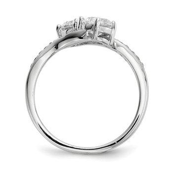 Sterling Silver Rhodium-plated Two Stone CZ Bypass Ring