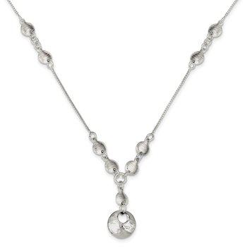 Sterling Silver Polished & Textured Fancy Round Drop Necklace