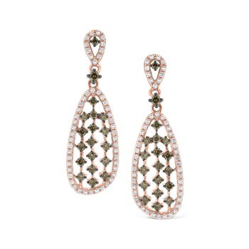 Champagne and White Diamond Fashion Earrings in 14K Rose Gold with 140 Diamonds Weighing  1.00ct tw