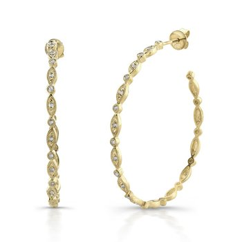 Yellow Gold 1 1/4 Inch Milgrain Hoops