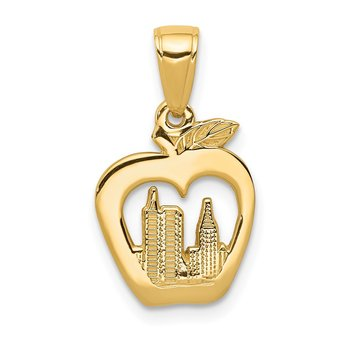 14K New York Skyline in Apple Pendant