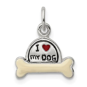 Sterling Silver Enameled I Love My Dog Charm