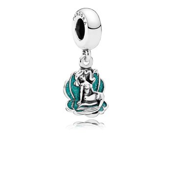 Disney, Ariel Sea Shell Dangle Charm, Glittery Seafoam Green Enamel