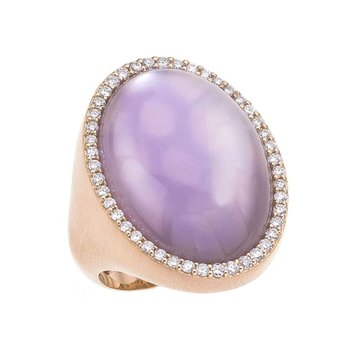 Ring with Diamonds, Amethyst and Mother of Pearl