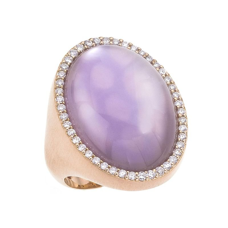 Roberto Coin  #21735 Of Ring With Diamonds, Amethyst And Mother Of Pearl