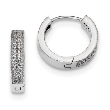 SS Rhodium-Plated CZ Brilliant Embers Hinged Hoop Earrings