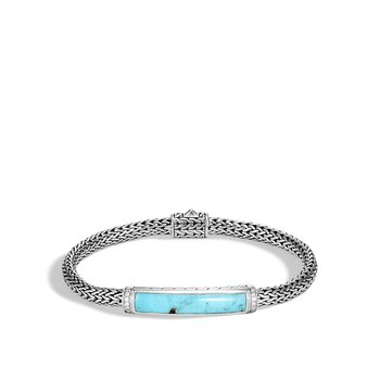 Classic Chain Station Bracelet in Silver with Gemstone and Dia