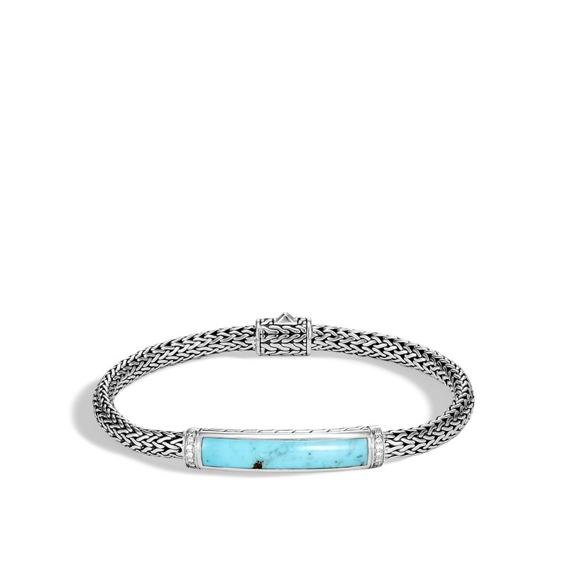 John Hardy Classic Chain Station Bracelet in Silver with Gemstone and Dia