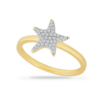 14K STAR FISH RING WITH 38 DIAMONDS 0.13CT, STARFISH 11MM