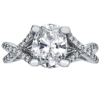 Weave Pave Set Diamond Engagement Ring