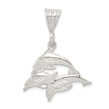 Sterling Silver Trio of Dolphins Pendant