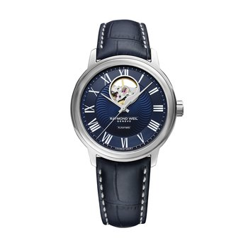 Men's Blue Automatic Watch Open Balance, 40mm steel on leather strap, dark blue dial