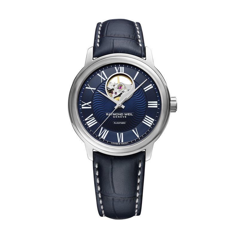 Raymond Weil Men's Blue Automatic Watch Open Balance, 40mm steel on leather strap, dark blue dial