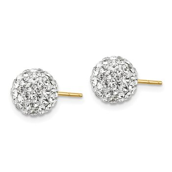 14k Madi K 8mm Clear Crystal Post Earrings