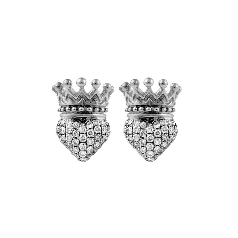 King Baby Crowned Heart Post Earring Pave Cz